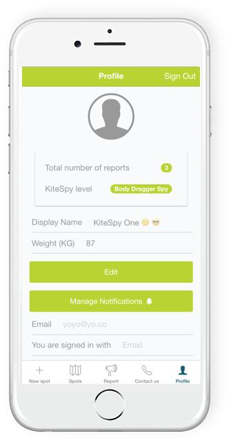 KiteSpy app profile page showing levels